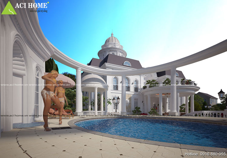 Góc view bể bơi biệt thự kiểu Pháp 2 tầng
