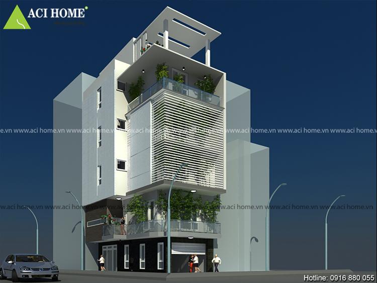 View thiết kế nhà phố 2 mặt tiền