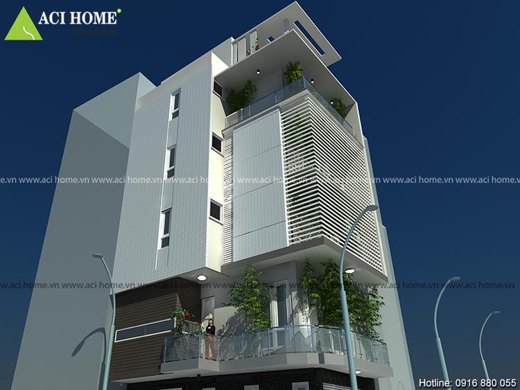 Thiết kế nhà phố 2 mặt tiền