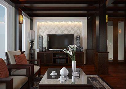 Thiết kế nội thất gỗ biệt thự Á Đông tinh tế