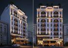 Thiết kế khách sạn kiểu Pháp đẹp với 2 mặt tiền 10 m song lập tại Hà Nội