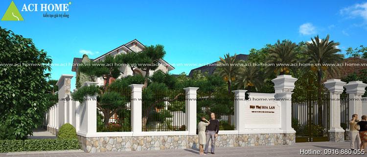 Thiết kế cổng và tường rào biệt thự 2 tầng kiểu Pháp