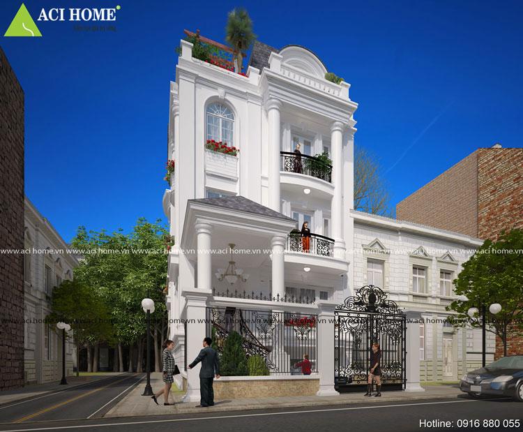 Thiết kế biệt thự phố kiểu Pháp