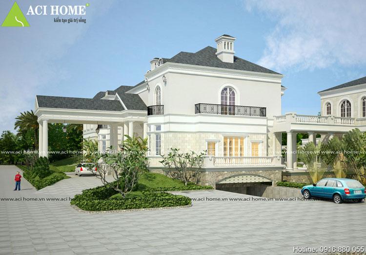 Thiết kế dinh thự kiểu Pháp.