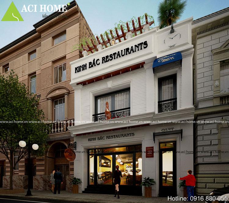 Không gian kiến trúc về đêm nhà hàng mini kiểu Pháp