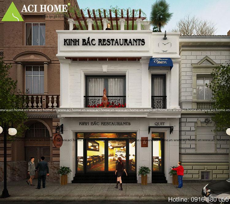 Góc nhìn trực diện nhà hàng mini kiến trúc Pháp
