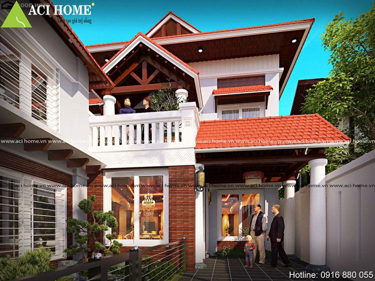 Biệt thự 2 tầng phong cách Á Đông truyền thống
