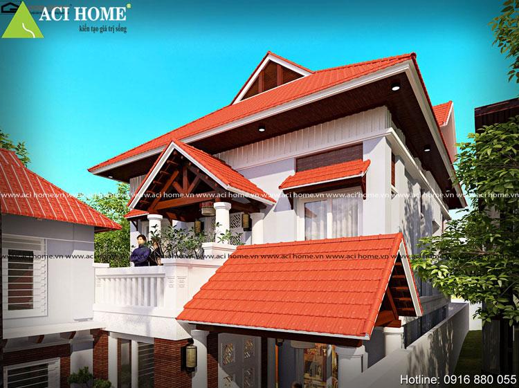 Thiết kế biệt thự 2 tầng phong cách Á Đông - Một góc tầng 2 nhìn từ xa