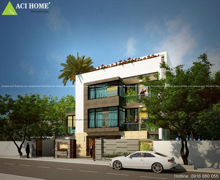 Biệt thự phố 3 tầng - Kiến trúc hiện đại