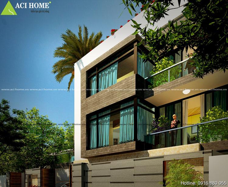 Kiến trúc hiện đại biệt thự phố 3 tầng