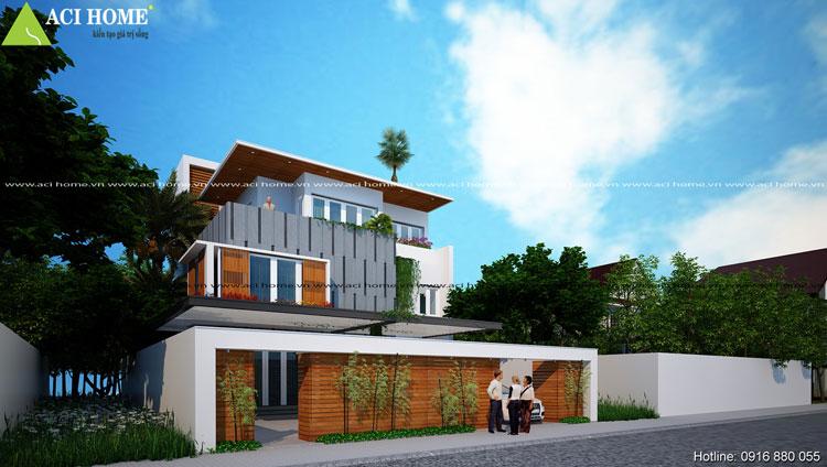 thiết kế biệt thự phố - biệt thự vườn hiện đại 3 tầng