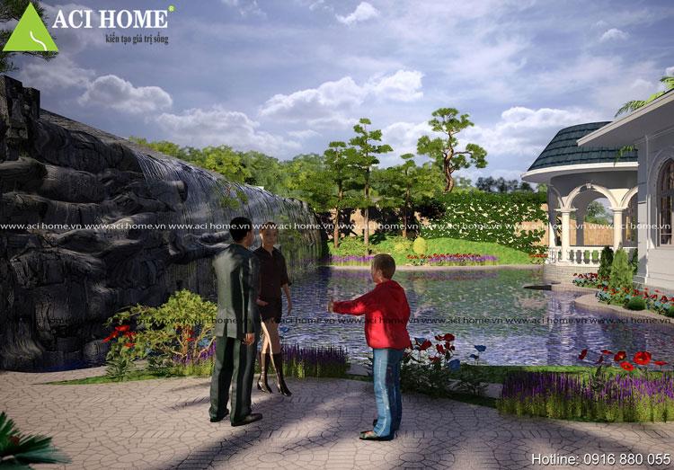 Tiểu cảnh sân vườn của biệt thự
