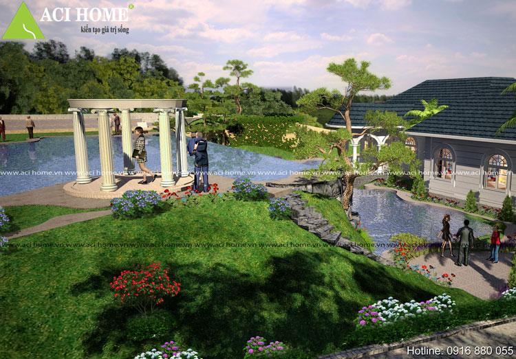 biệt thự sân vườn tân cổ điển