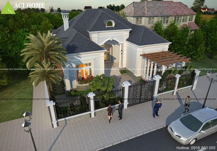Thiết kế biệt thự vườn 1 tầng kiểu Pháp