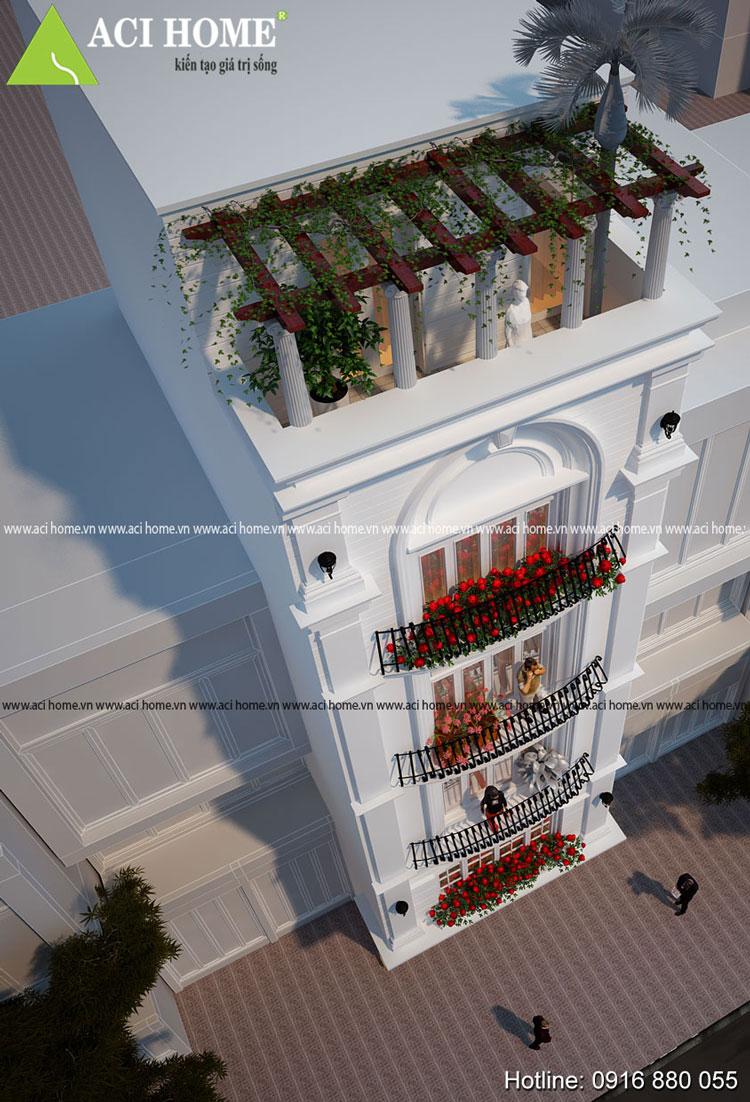 Thiết kế chi tiết mái nhà phố kiểu Pháp