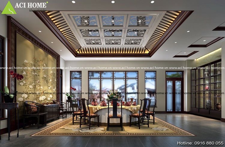 Phòng ăn trong thiết kế nội thất Á Đông
