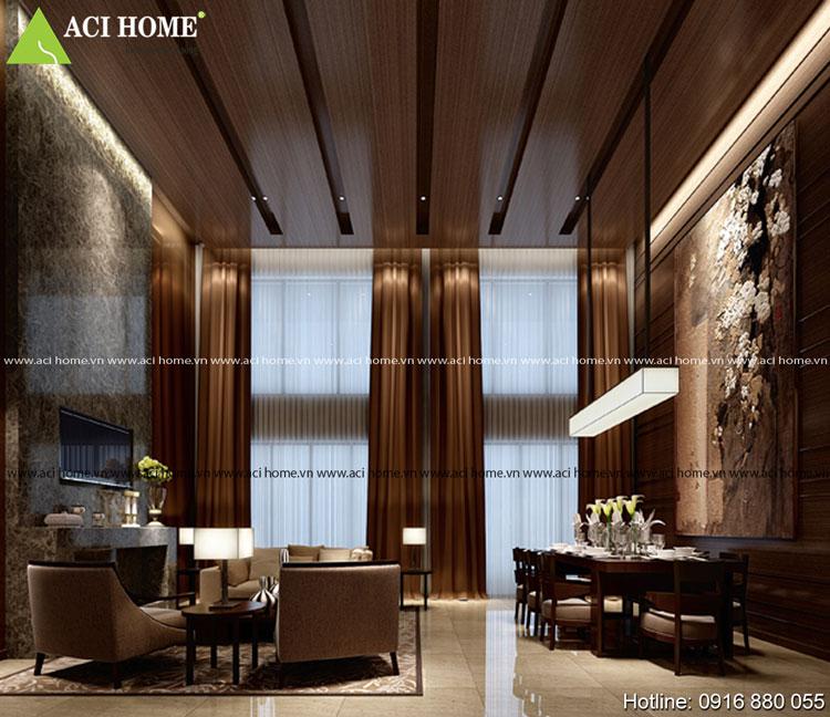 Thiết kế nội thất Á Đông phòng ăn