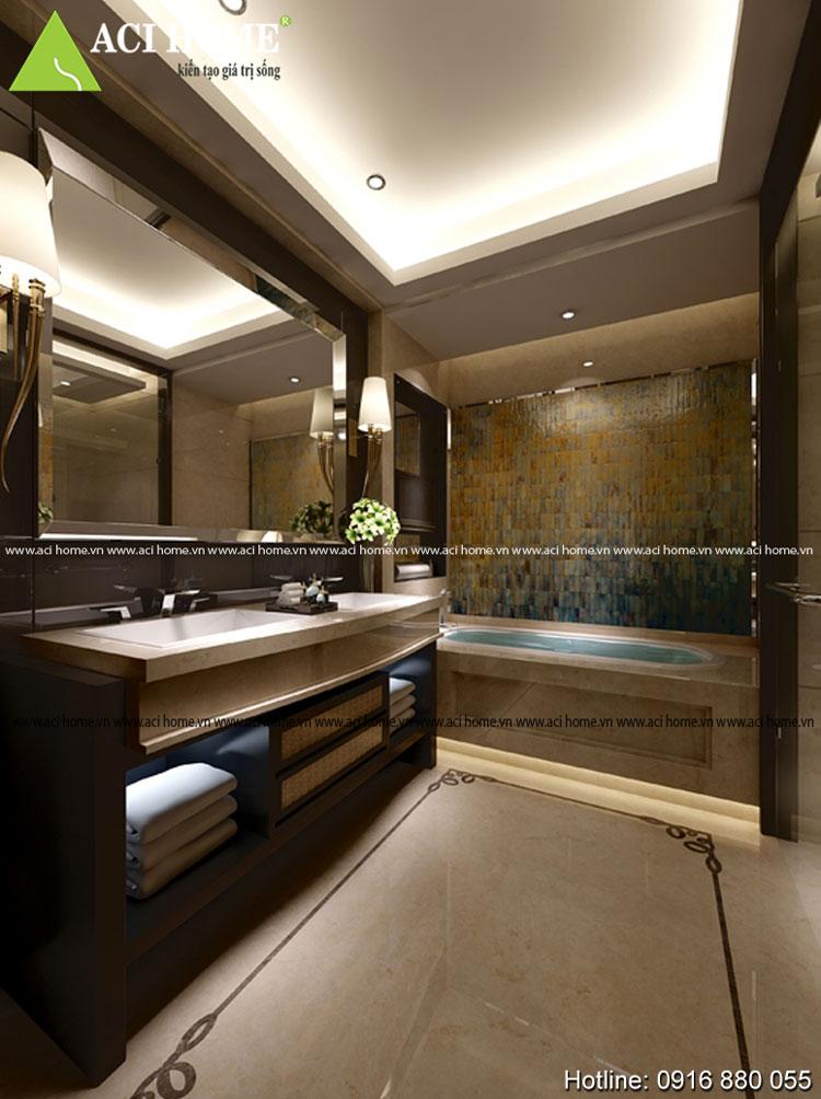 Thiết kế nội thất phòng tắm kiểu Á Đông