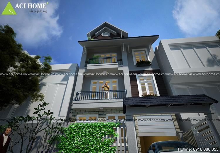thiết kế biệt thự phố 3,5 tầng