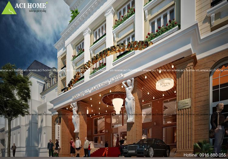 Thiết kế đẹp 4 sao của khách sạn 7 tầng