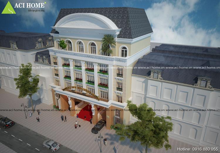 Mẫu kiến trúc thiết kế khách sạn kiểu Pháp 7 tầng