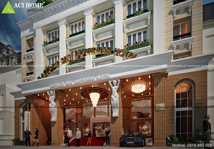 Sự lộng lẫy của thiết kế khách sạn kiểu Pháp 7 tầng