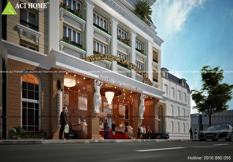 Thiết kế mặt tiền khách sạn kiểu Pháp 7 tầng