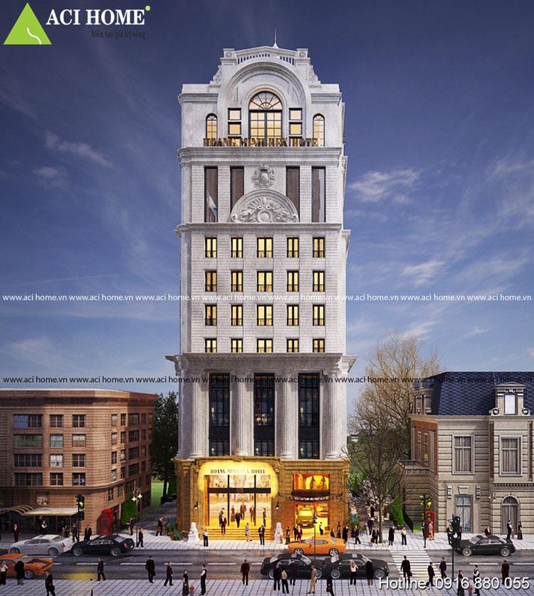 Trực diện thiết kế khách sạn kiểu Pháp 11 tầng