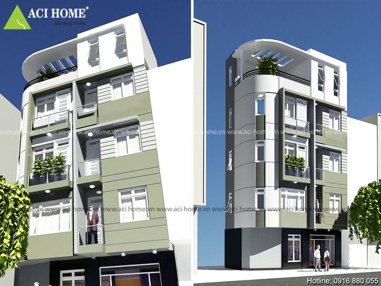 Thiết kế nhà phố 5 tầng sang trọng dưới 2 góc nhìn!