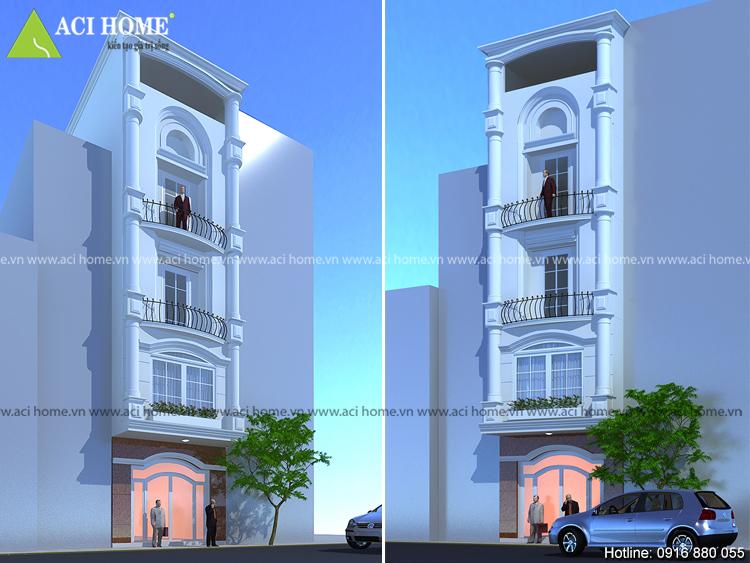 Thiết kế nhà phố kiểu Pháp 5 tầng nhìn từ 2 phía