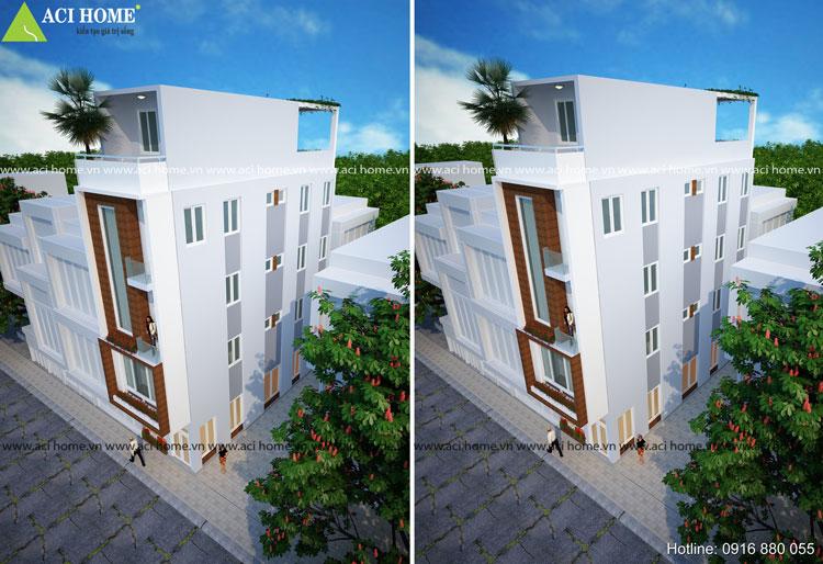 Mẫu thiết kế nhà phố 2 mặt tiền