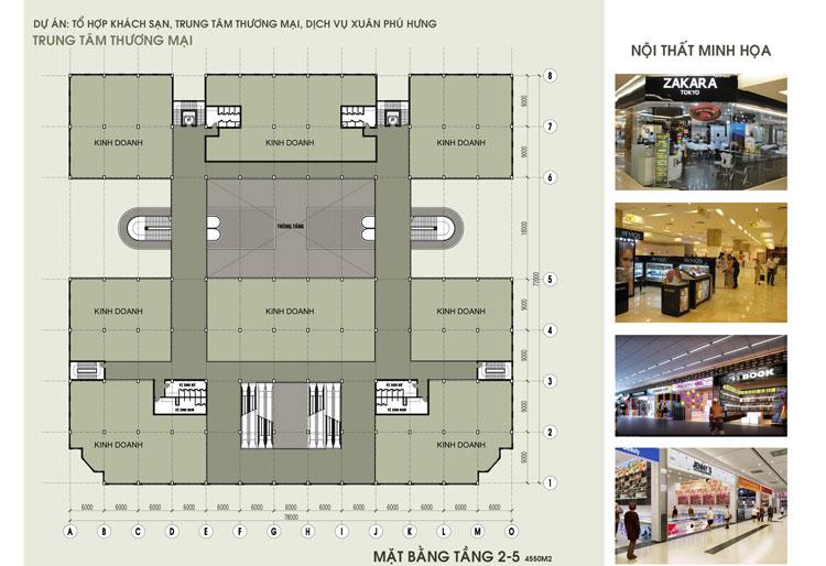 Sơ đồ mặt bằng tầng 2-5 Trung tâm thương mại