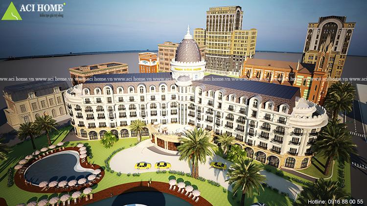 Thiết kế khách sạn đẹp với không gian bề thế.