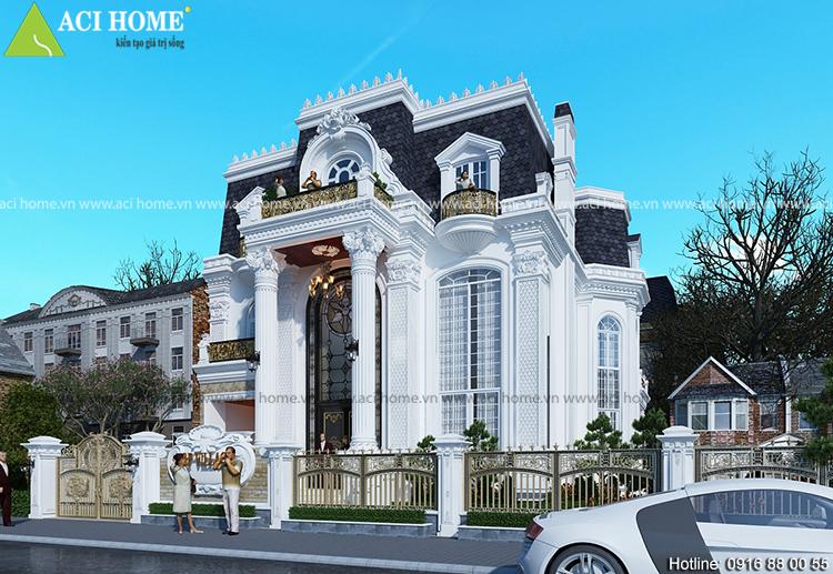 Thiết kế biệt thự kiểu Pháp 3 tầng