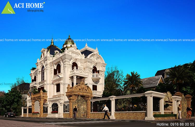 Thiết kế biệt thự kiểu Pháp sang trọng.