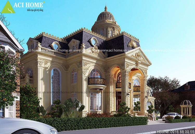 Thiết kế biệt thự kiểu Pháp 2,5 tầng sang trọng và ấn tượng.