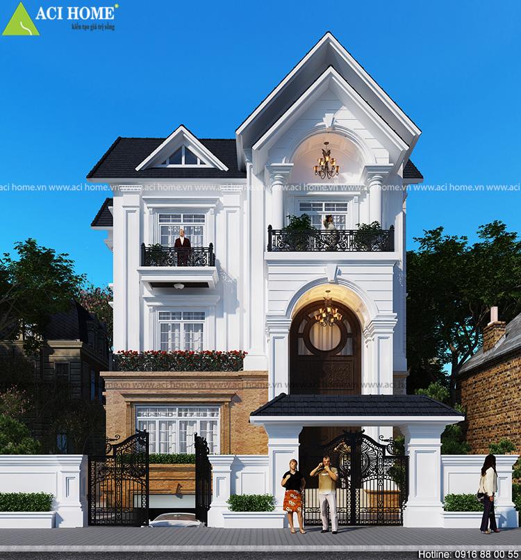 Thiết kế biệt thự tân cô điển Pháp tại Hà Tĩnh