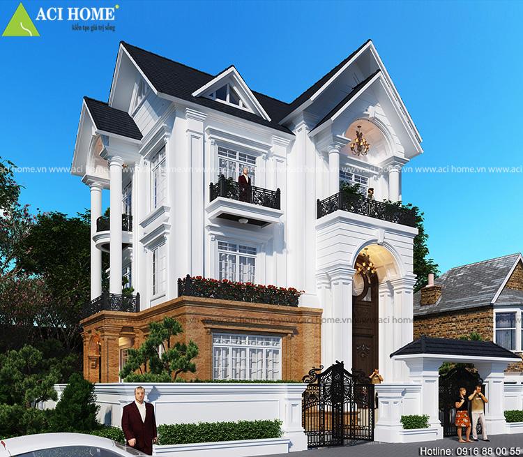 Thiết kế biệt thự tân cổ điển sang trọng tại Hà Tĩnh