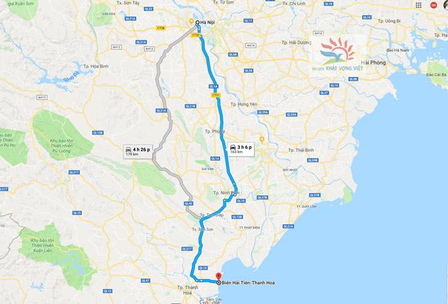 Đường đi từ Hà Nội về Hải Tiến