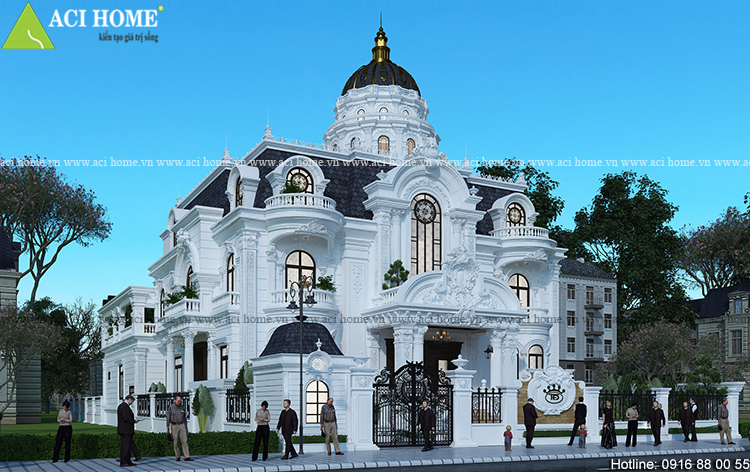thiêt kế biệt thự kiểu Pháp sang trọng bề thế 2 tầng