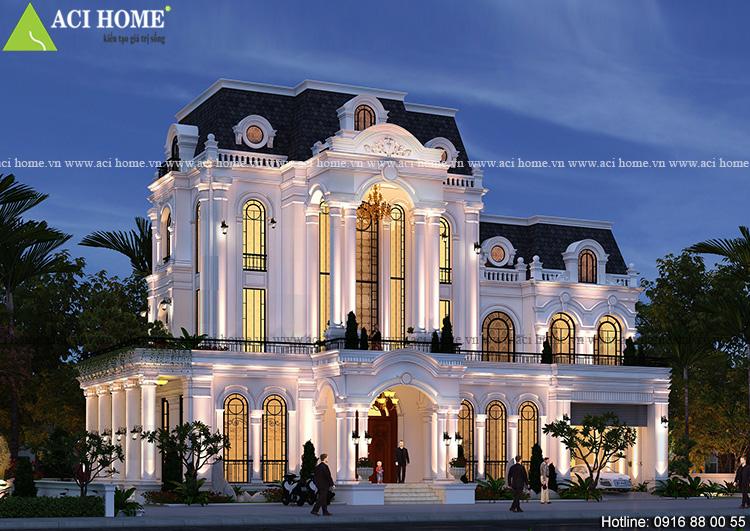 Thiết kế biệt thự kiểu Pháp 3,5 tầng tại Tp Hạ Long - 295m2/sàn - Sang trọng đẳng cấp