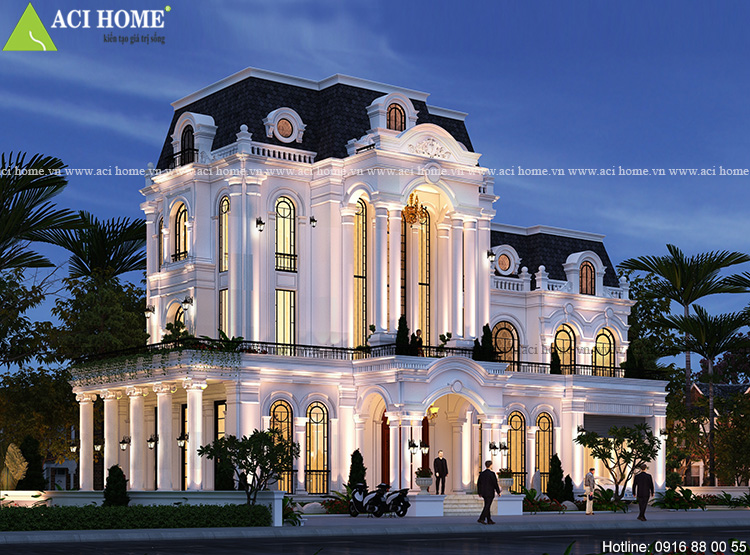 Thiết kế biệt thự kiểu Pháp tại Hạ Long - Biệt thự lâu đài Châu Âu 3,5 tầng tráng lệ