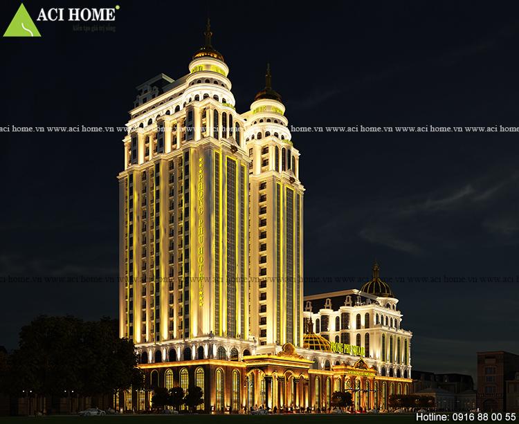 Thiết kế khách sạn kiểu Pháp 5 sao -25 tầng song lập-Kết hợp làm trung tâm thương mại bề thế tại Tp Móng Cái