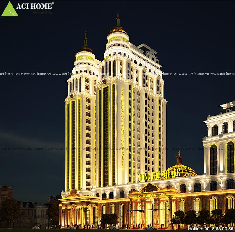 Thiết kế khách sạn và trung tâm thương mại kiểu Pháp bề thế ấn tượng tại Tp Móng Cái_Quảng Ninh