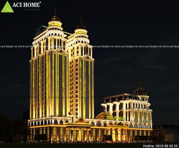 Thiết kế khách sạn kiểu Pháp 5 sao Phong Phu Hotel và TTTM Phong Phu Square tại Móng Cái