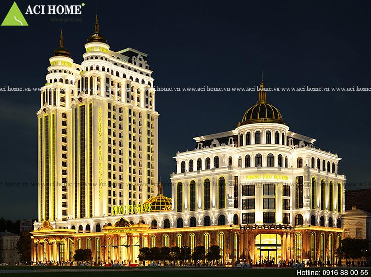 Thiết kế khách sạn kiểu Pháp 25 tầng 2 tòa song lập kết hợp trung tâm thương mại -Công trình 5 sao tại TP Móng Cái