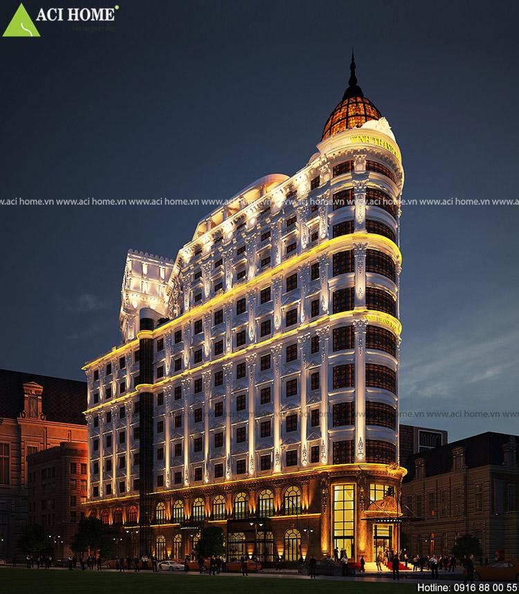 Thiết kế khách sạn kiểu Pháp kết hợp trung tâm thương mại và dịch vụ Vinh Thanh Square - tại Tp Đà Nẵng - Toàn cảnh công trình
