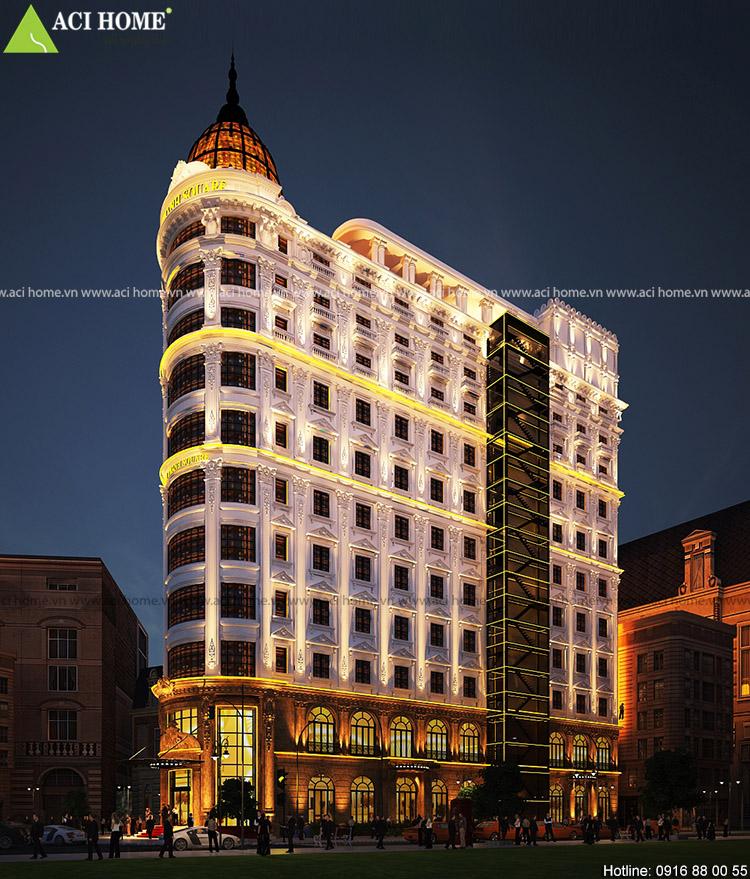 Thiết kế khách sạn kiểu Pháp 11,5 tầng sang trọng tại Tp Đà Nẵng - Công trình kết hợp trung tâm thương mại tại tầng 1 và 2.