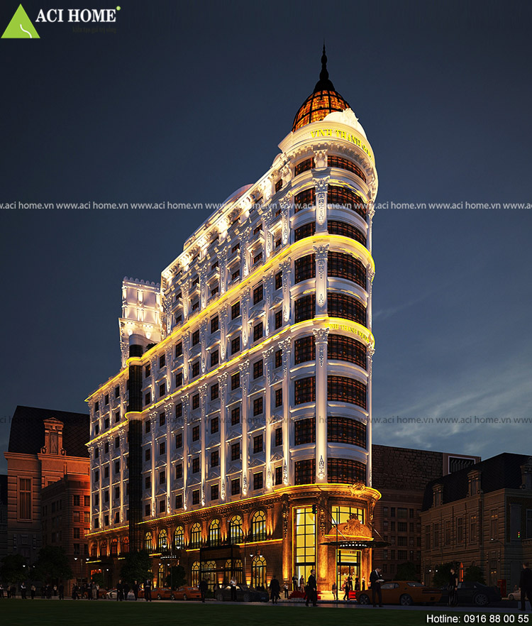 Thiết kế khách sạn kiểu Pháp - Trung tâm thương mại Vinh Thanh Square tại TP Đà Nẵng.