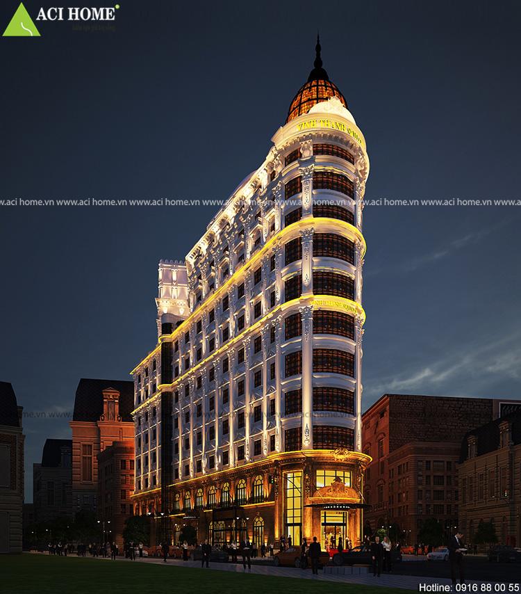 Thiết kế khách sạn kiểu Pháp 11,5 tầng đẳng cấp 4 sao có trung tâm thương mại và dịch vụ cao cấp